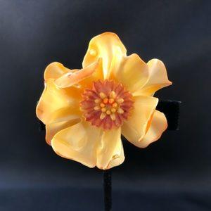 Vintage yellow flower brooch orange center